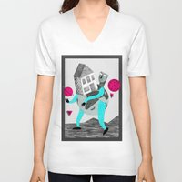 globe V-neck T-shirts featuring GLOBE by Vértice Design Studio