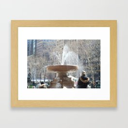 Bryant Park Fountain With Tourist Framed Art Print