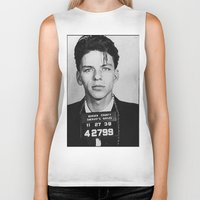 frank sinatra Biker Tanks featuring Frank Sinatra Mugshot by Neon Monsters