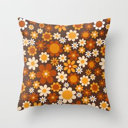 Sunny side up Brown Throw Pillow