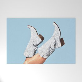 These Boots - Glitter Blue Welcome Mat