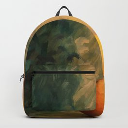 A glass of wine with an apple on a colourful painted background Backpack