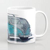 vw bus Mugs featuring VW Bus by AshyGough