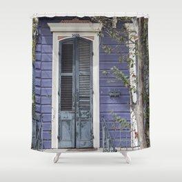 New Orleans Blue Marigny Door Shower Curtain