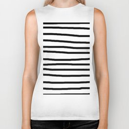 Simply Drawn Stripes in Midnight Black Biker Tank