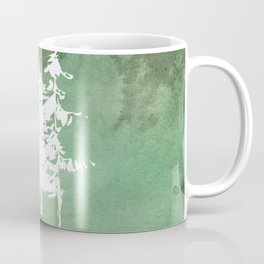 Hand painted forest green white watercolor pine trees Coffee Mug