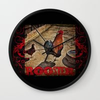 rooster Wall Clocks featuring Rooster by Justin Alan Casey