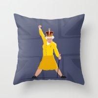queen Throw Pillows featuring QUEEN by Bakus