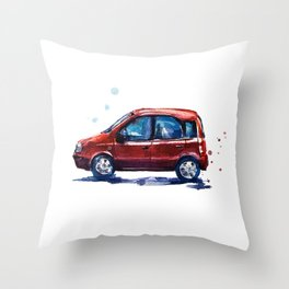 Sketch of a red car in watercolor Throw Pillow