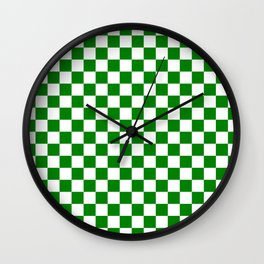 Small Checkered - White and Green Wall Clock