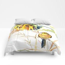 Yellow Bird and Sunflowers, Yellowhammer Comforters