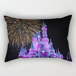 Disney Magic Kingdom Fireworks at Christmas - Cinderella Castle Rectangular Pillow