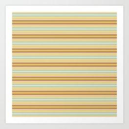 Autumn orange yellow mint green geometrical stripes Art Print