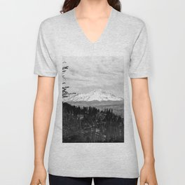 Mount Shasta, and neighboring mountain Shastina, Siskiyou County, ca.1900-1940 Unisex V-Neck