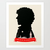 sherlock Art Prints featuring Sherlock by Duke Dastardly