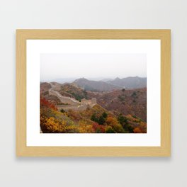 Great wall of china with mountains and colorful wild plants arround Framed Art Print