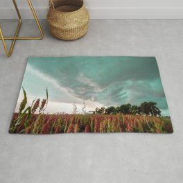 In the Maize - Storm Advances Over Farm in Oklahoma Rug