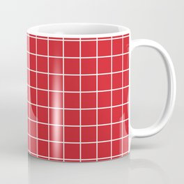 Fire engine red - red color -  White Lines Grid Pattern Coffee Mug