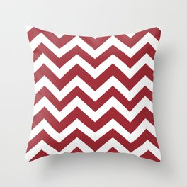 Japanese carmine - red color - Zigzag Chevron Pattern Throw Pillow