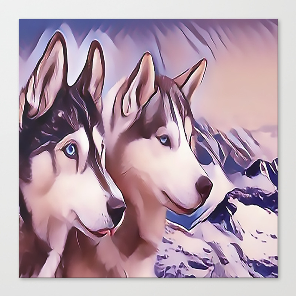 A Pair Of Siberian Huskys Canvas Print by Sunleil CNV8870944