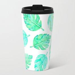 Watercolor Tropical Leaves Travel Mug