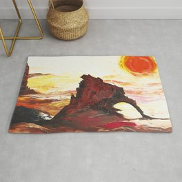 Landscape painting- The Indian - by LiliFlore Rug