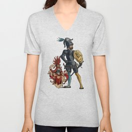 Medieval Knights in Armor with  Coats of Arms Unisex V-Neck