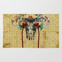 punisher Area & Throw Rugs featuring Watercolor Punisher Bat by Joshua Epling