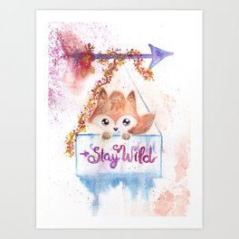 Cute Fox Stay Wild Quote Illustration Art Print