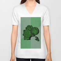 yoshi V-neck T-shirts featuring Philosoraptor Yoshi by Triple_S_Art