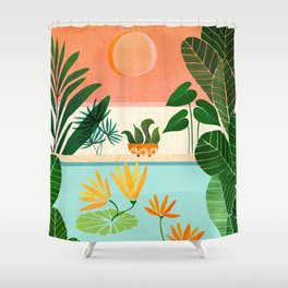 Shangri La Sunset / Exotic Landscape Illustration Shower Curtain