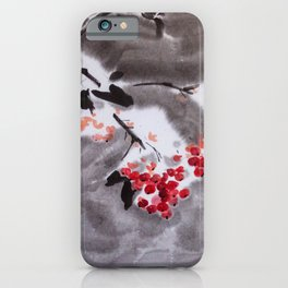 Rowan tree in snow sumie ink watercolor painting iPhone Case