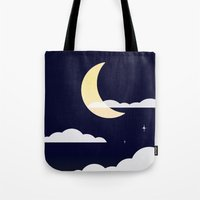 night sky Tote Bags featuring Night Sky by jozi.art