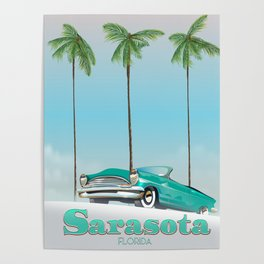 Sarasota Florida vintage style travel poster Poster