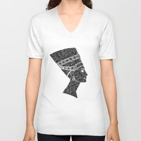 queen V-neck T-shirts featuring Queen by Panda Cool