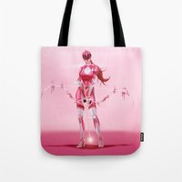 power ranger Tote Bags featuring Pink Ranger by Isaiah K. Stephens