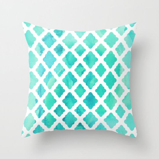Watercolor Mint Diamonds Throw Pillow