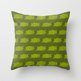 Counting Sheep. Green on Olive. Throw Pillow