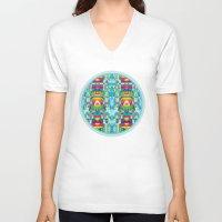 glitch V-neck T-shirts featuring glitch by Xenia Pirovskikh