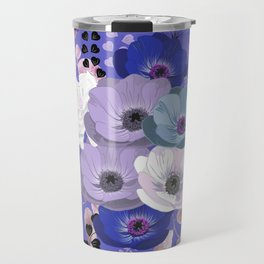 Anemones & Gardenia Blue bouquet Travel Mug