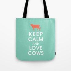 Keep Calm and Love Cows Tote Bag