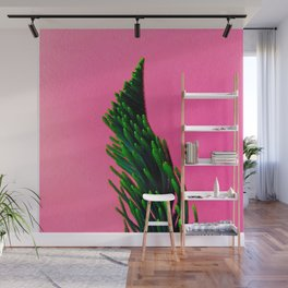 Green Plant on Pink Background Wall Mural