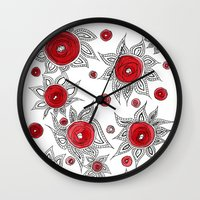sunflowers Wall Clocks featuring Sunflowers by Gosia&Helena