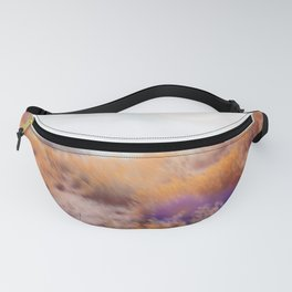 yellow flower field on the mountain with summer light bokeh abstract Fanny Pack