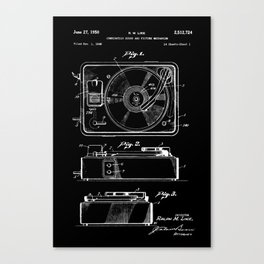 Turntable Patent - White on Black Canvas Print