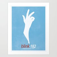 blink 182 Art Prints featuring Blink-182 'Enema of the State' Poster by 6B Artwork