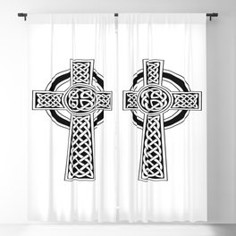 St Patrick's Day Celtic Cross Black and White Blackout Curtain