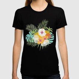 Tropical bouquet pattern T-shirt