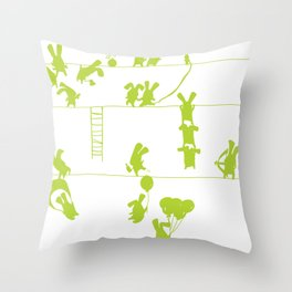 Green Bunnies Throw Pillow