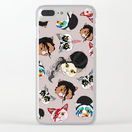 Pop Cats - Pattern French Gray Grey Clear iPhone Case